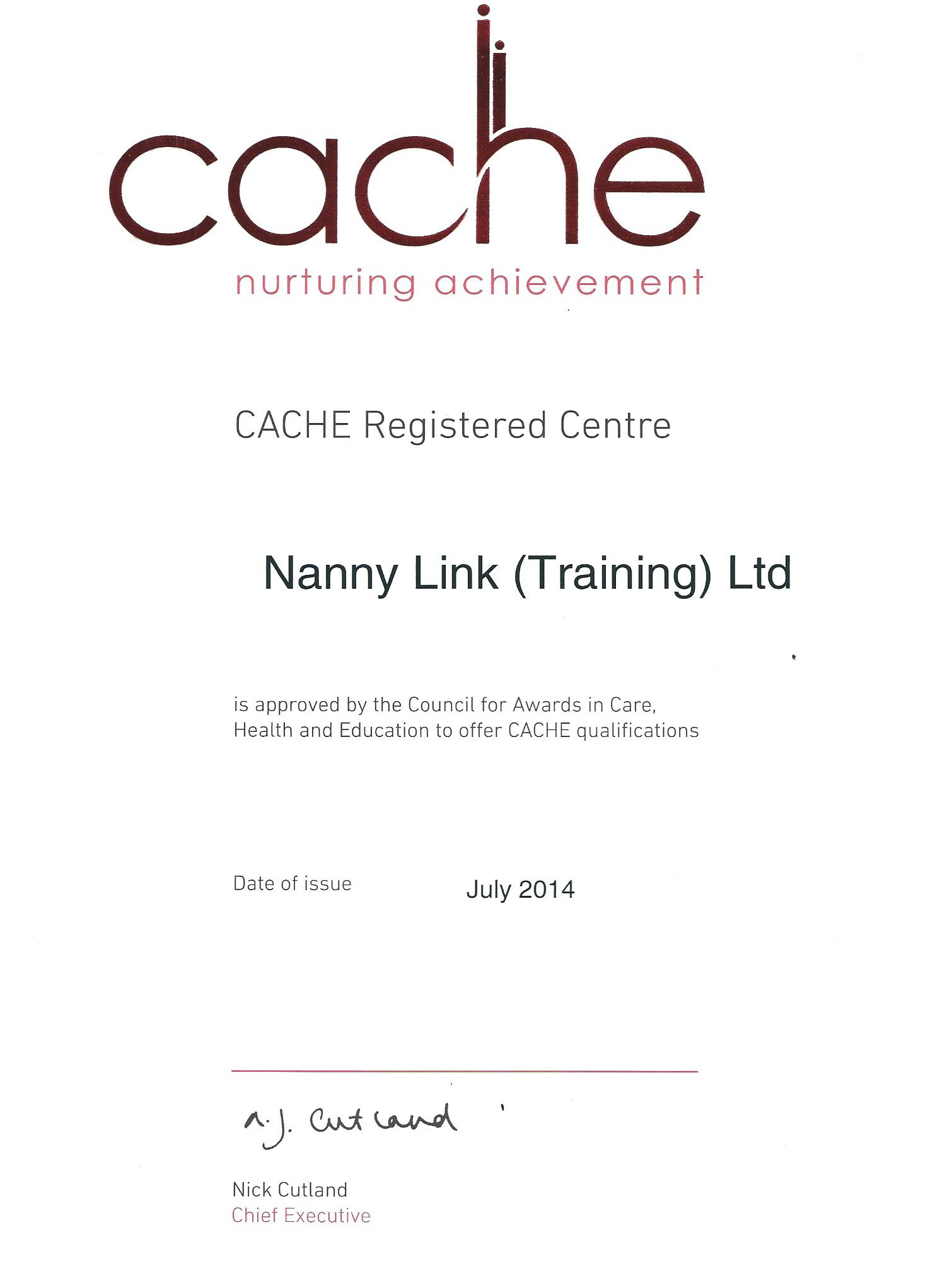 CACHE Certificate